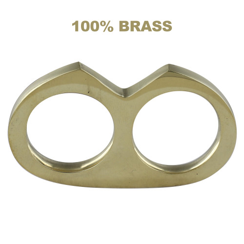 No Apologies Mini Two Finger Double Knuckle Pure Brass Knuckle Paper Weight Accessory