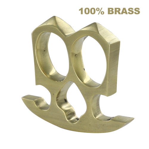 Armored Up Two Finger Double Knuckle Pure Brass Novelty Paper Weight Knuckleduster