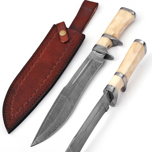 Total Eclipse Damascus Steel Bowie Hunting Knife Sheath Included