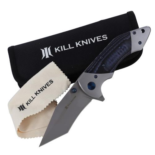 KILL KNIVES ™ Blue Viper Ball Bearing Spring Assisted D2 Steel Tanto Blade Pocket Knife