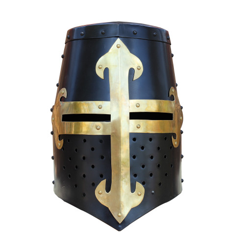Knights Templar Brass Trimmed Crusader Practice Helmet Without Liner | Black |