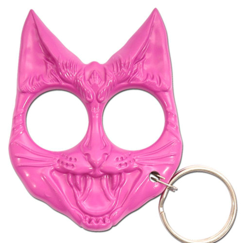 Self Defense Evil Cat Keychain Pink