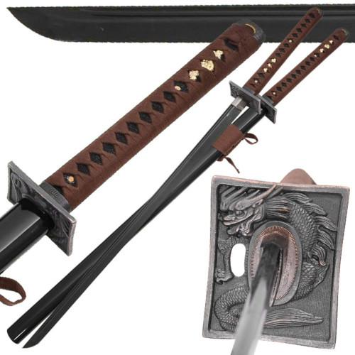 Japanese Black Knight Dragon Warrior 1045 Carbon Steel Katana