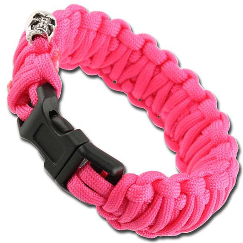 Skullz Survival Military Braided Paracord Bracelet - Neon Pink