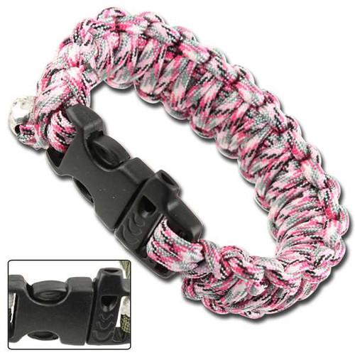 Skullz Survival Whistle 17.06 FT Paracord Bracelet-Pink Camo