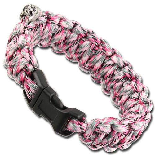 Skullz Survival Military Braided Paracord Bracelet - Pink Camo