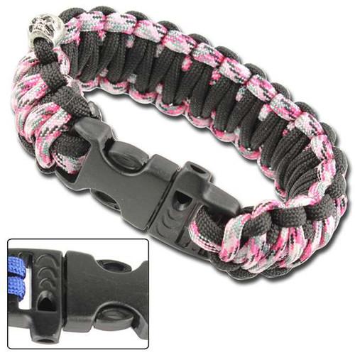 Skullz Survival Whistle Paracord Bracelet-Pink Camo Black