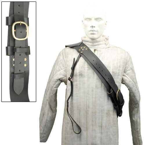 Medieval Genuine Leather Long Sword Baldric Hanger
