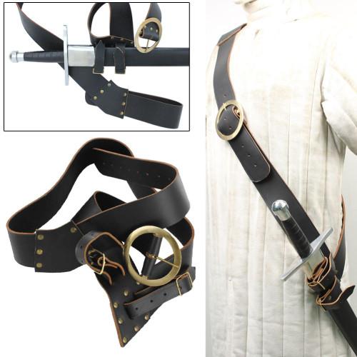 Leather Right Handed European Baldric Black Belt