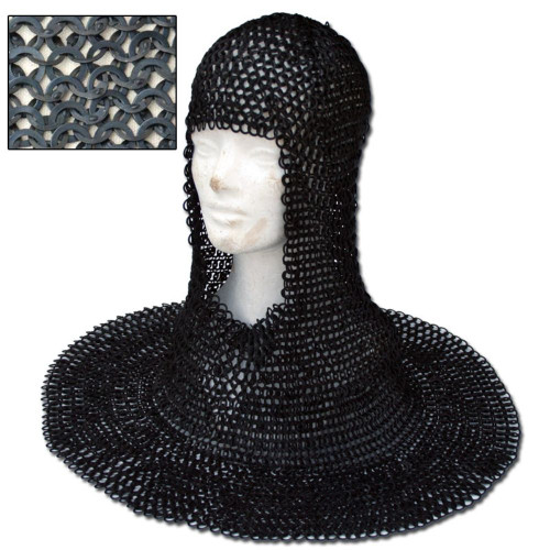 Medieval Wedged Rivet Steel Chainmail Coif Armor