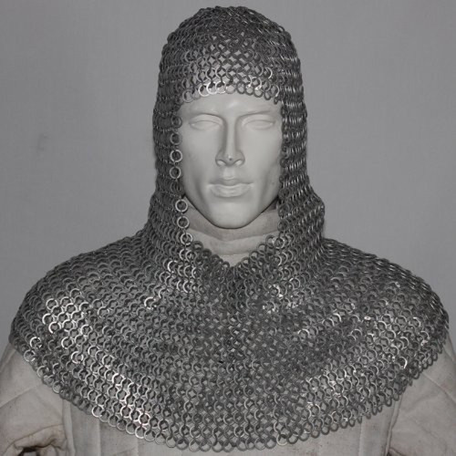 Medieval Knight Flat Ring Rivet Chain Mail Coif