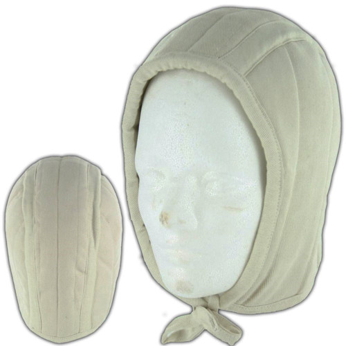 Cotton Padded Coif Arming Cap White