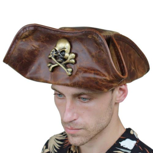 Skull & Crossbones Pirate Hat Handmade Real Leather