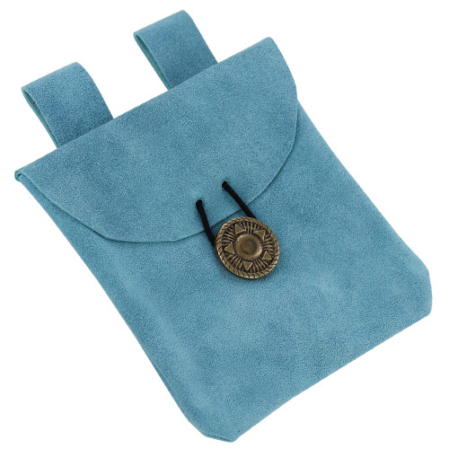 Lights of the Peaceful Blues Suede Leather Pouch