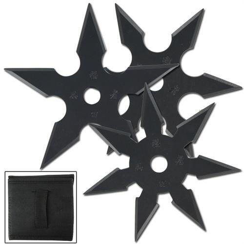Khoga Ninja Sure Stick Throwing Star 3pcs Set Black