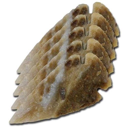 Medieval Flint Agate Arrowhead 5 Piece Set 1 Inch