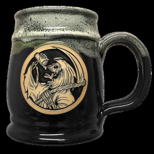 Drinkin' Reaper Black  w/ Kiwi White Tankard by Seventh.Ink