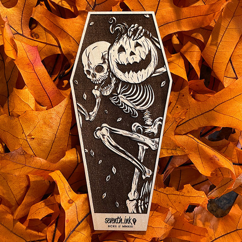"""Night of the Pumpkin 6"""" Engraved Maple Wooden Coffin Cutout by Seventh.Ink"""