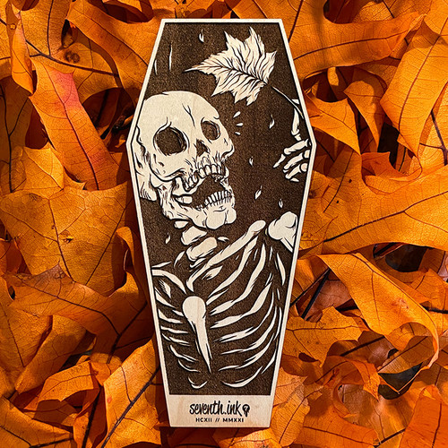 """Mapled 6"""" Engraved Maple Wooden Coffin Cutout by Seventh.Ink"""