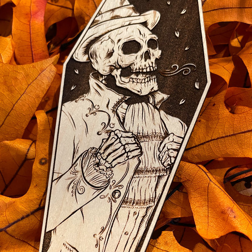 """Victorian Autumn 6"""" Engraved Maple Wooden Coffin Cutout by Seventh.Ink"""