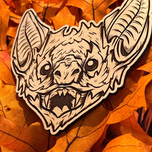 """Vampire Bat 4.5"""" Engraved Maple Wooden Cutout by Seventh.Ink"""