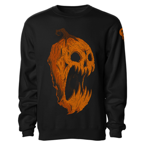 Screaming Pumpkin Re-Inked Crewneck Sweatshirt by Seventh.Ink