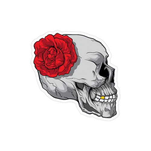 Skull and Rose Die Cut Sticker