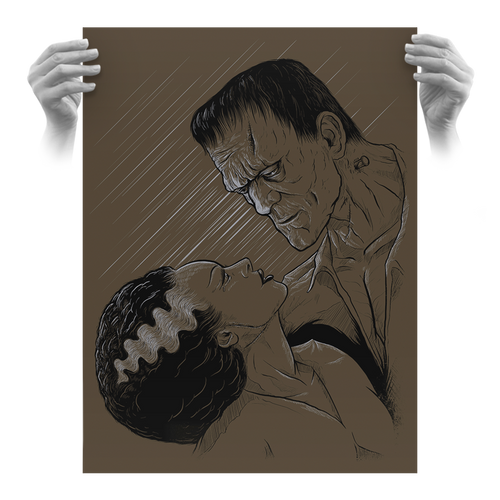 Undying Love 18x24 Screen Print Charcoal Brown