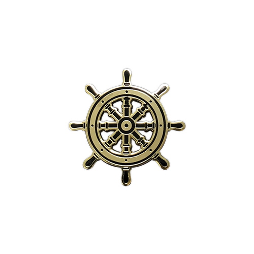 Gold Ship Helm Enamel Pin by Seventh.Ink