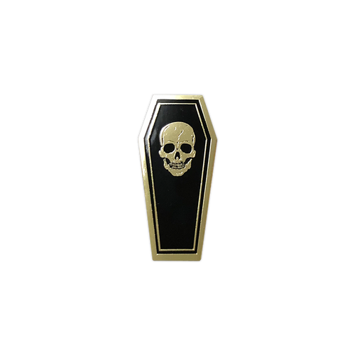 Black/Gold Coffin Enamel Pin by Seventh.Ink