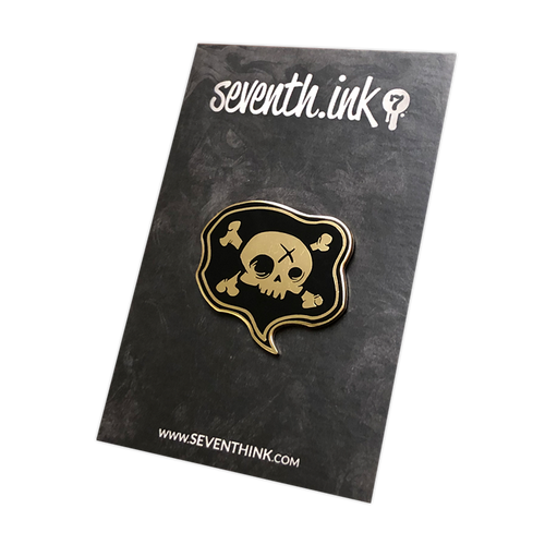 Black/Gold Poison Speak Enamel Pin by Seventh.Ink