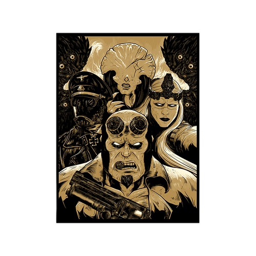 9x12 Hellboy Metallic Screen Print