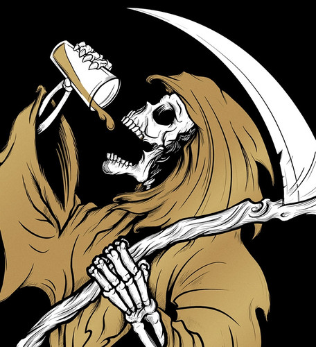 9x12 Drinkin Reaper Metallic Screen Print