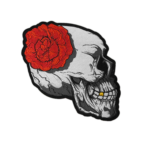Skull and Rose Woven Patch