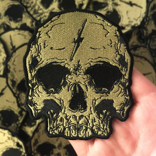 Gold Lightning Skull Patch by Seventh.Ink