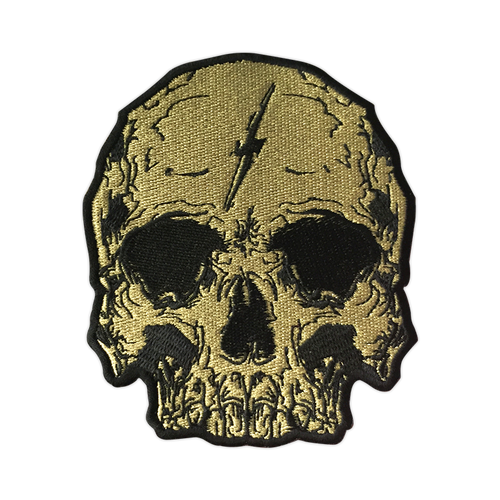 Gold Lightning Skull Patch by Seventh.Ink