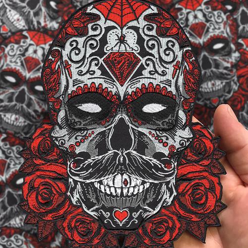 """Huge 8"""" Tall Debonair Sugar Skull Back Patch by Seventh.Ink"""