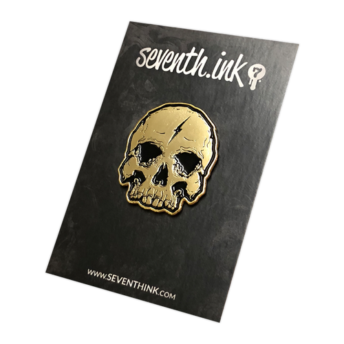 Gold Lightning Skull Enamel Pin by Seventh.Ink