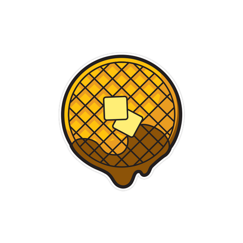 Dripping Waffle Die Cut Sticker