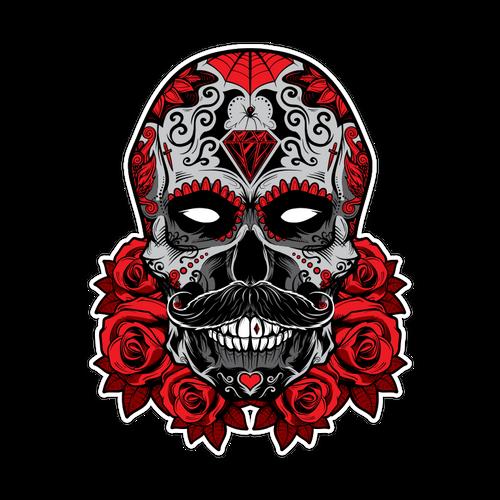 Debonair Sugar Skull Die Cut Sticker