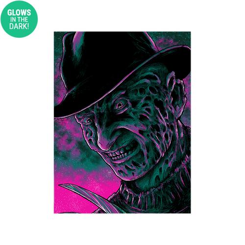 9x12 Twilight Freddy Krueger Screen Print - Glows!
