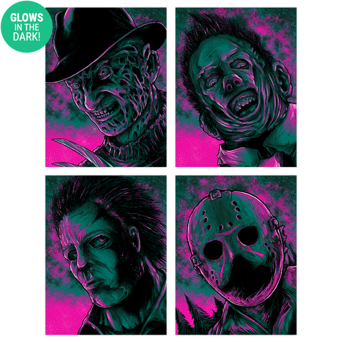 9x12 Twilight Horror Screen Print Set - Glows!