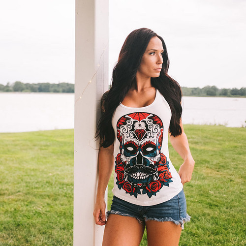 Debonair Sugar Skull Patriotic racerback tank by Seventh.Ink