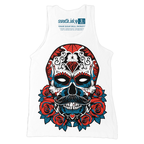 Debonair Sugar Skull Patriotic unisex tank by Seventh.Ink