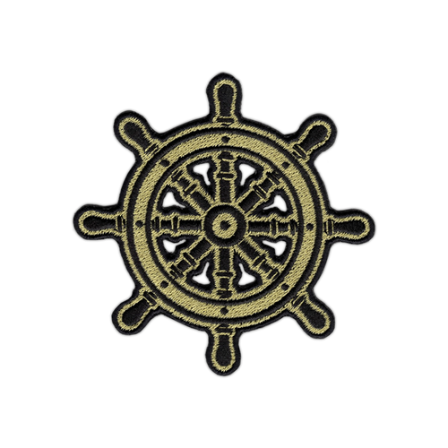 Black/Gold Ship Helm Patch by Seventh.Ink
