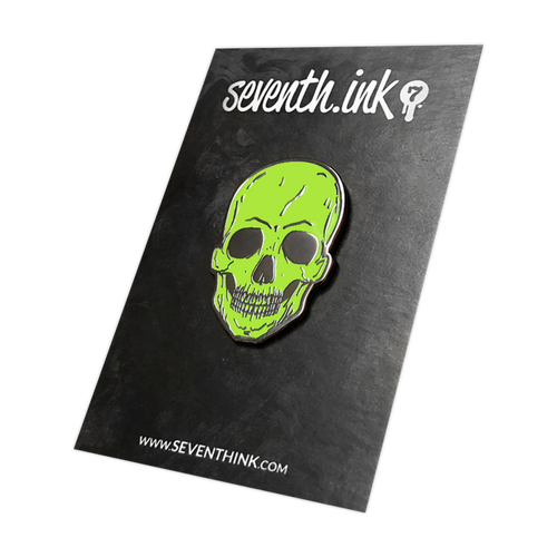 Lime Green Skull Enamel Pin by Seventh.Ink