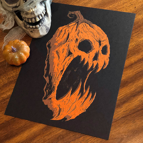 9x12 Screaming Pumpkin Screen Print