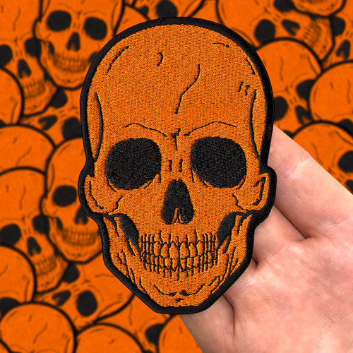 Large Orange Skull Patch by Seventh.Ink