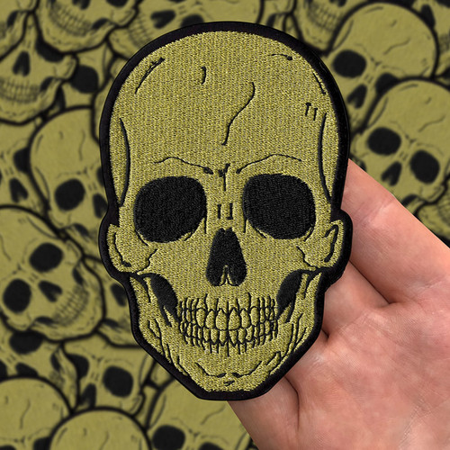 Large Gold Skull Patch