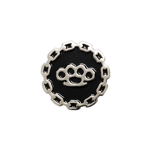 Brass Knuckles Silver Pin